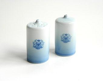Bing & Grøndahl salt and pepper shakers blue ombre Hotel Richmond sleek mod mid century modern design B and G Danish porcelain Denmark 1970
