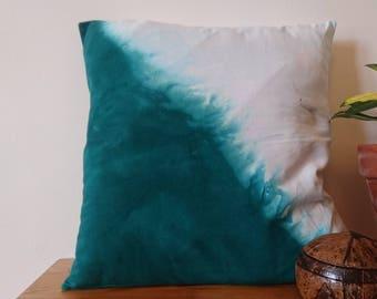 Cushion Cover made from 100% ORGANIC cotton, 40x40cm, dip-dye effect emerald green