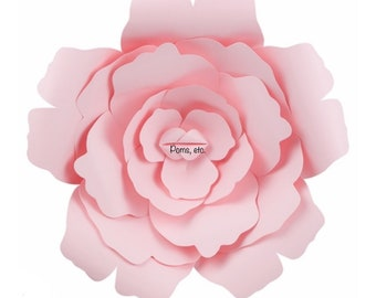 "Rose wall flower- 12"" pink , large paper flower - 3-D //  // wedding decoration // baby shower // party decor"