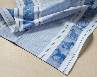 Luxurious Jacquard Woven Horse Kitchen Dish Tea Towel 100% Cotton Made in Europe Blue