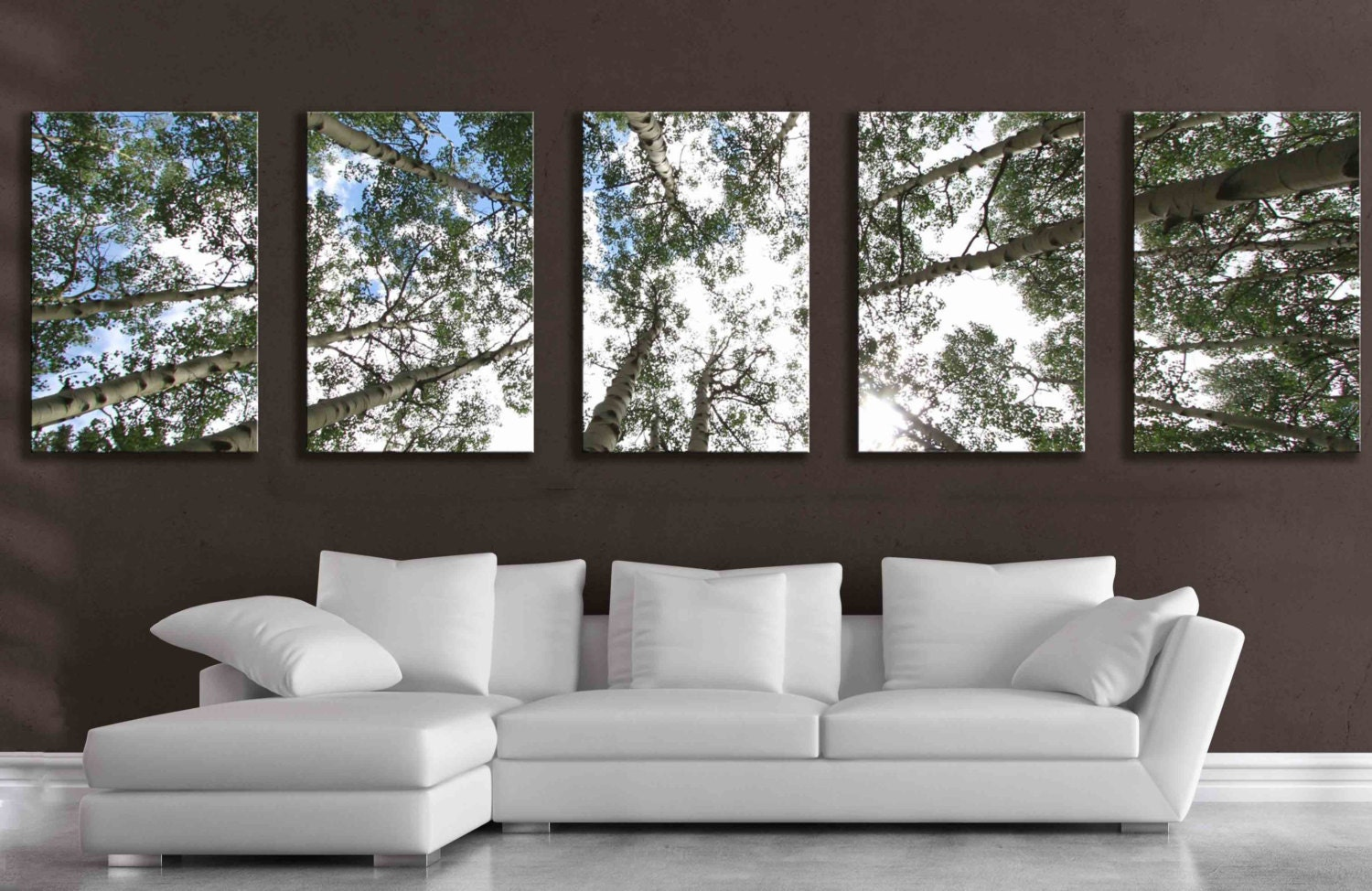 Panel Wall Art Brilliant Large 5 Panel Wall Art Aspen Tree Canvas Decor  Five Multipiece Inspiration