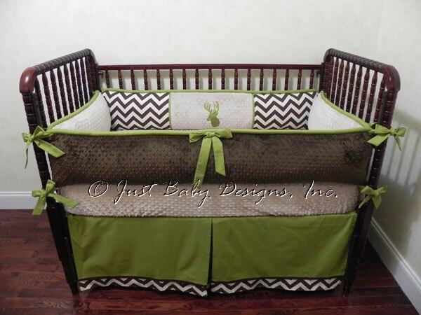 Custom Crib Bedding Set Bennett Baby Boy Brown