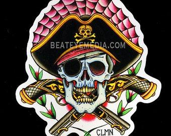 Aaron Coleman,PIRATE,TATTOO,sticker,pirates,skull,skulls,monster,monsters,HORROR,comic art,comic,tattooing,tattoo flash,mask,masks,ed hardy