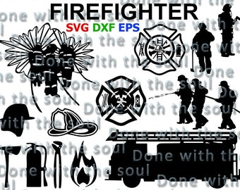 Firefighter svg - Fireman svg - Firefighter cut file - Fireman vector - Fireman cut file - Svg eps dxf - Cutting files - Digital cut files