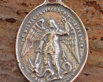 Saint Michael the Archangel Vintage Reproduction in Sterling Silver, AR-465