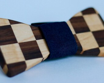Hand Crafted Checkered Wood Bow Tie - Maple/Walnut