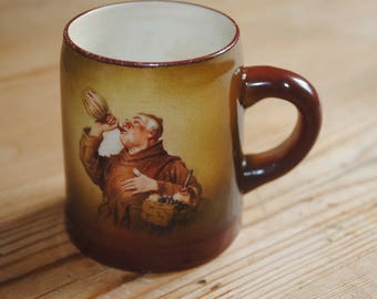Antique Columbian Trenton Art Pottery Monk Drinking out of Carafe Small Mug Stein Tankard 1892 - 1902 Victorian