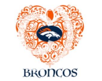 Football (Boise State) Ornate Heart