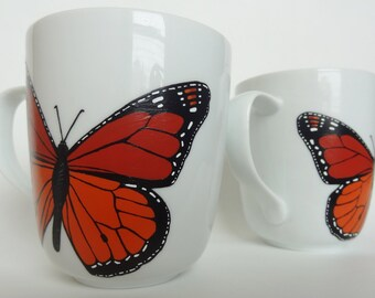Monarch Butterfly Coffee Mugs, Hand Painted, 2, MADE TO ORDER