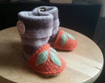 Recycled Felted Wool Baby Booties Size 3 to 6 months