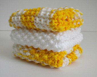 Knitted Dish Cloth SET / Yellow White Dish Rags / Knit Wash Rags / 3 Dish Rags / Knitted Cloths / under 20 gift