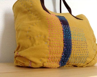 OOAK Colorful Stitching Bag - retro/stitched/tote bag/mustard/shoulder bag/gadged case/patchwork/kimono design/floral/messenger bag/fun