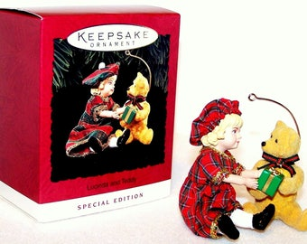 1994 Lucinda and Teddy Hallmark Keepsake Ornament, Girl and Her Bear Exchanging a Gift