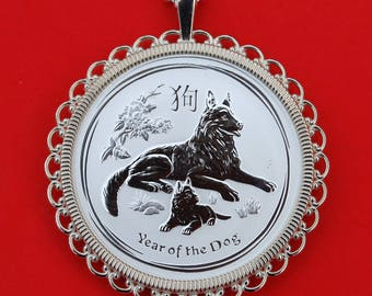 2018 Australia Lunar Chinese Dog Year 1/2 oz .999 Fine Silver Round BU Uncirculated Coin 925 Sterling Silver Necklace NEW