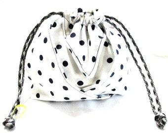 Black Polka Dot on White Mini 2 Pocket lined Bag, Tote, Pouch, Wristlet Bag, Wedding Favor, Party Bag, Coin Purse, Make up Bag, Supply Bag