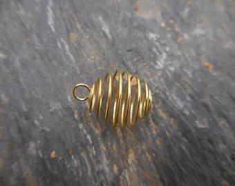 Metal Golden semi precious stone cage