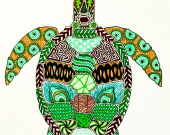 "Zentangle Turtle - ""Ridley (Testudines)"""