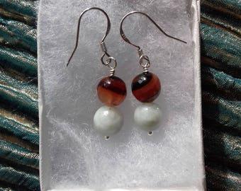 Gemstone earrings, jadeite earrings, green earrings, brown agate earrings, agate earrings, brown earrings, sterling silver, silver earrings
