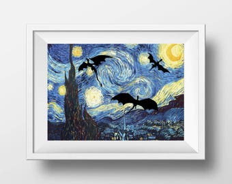 Dragons poster print - Van Gogh Starry Night wall art