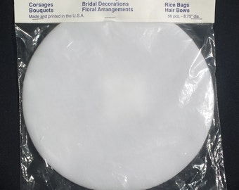 "9"" WhiteTulle Circles for wedding favors, shower favors  or party favors- 50 circles in a package"