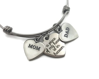 Memorial Jewelry, Remembrance Bracelet, Loss of Parents, Loss of Mom, Loss of Dad, A Piece of My Heart, Heaven, Bereavement Gift, Condolence