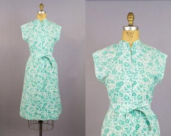 Green Acres Dress / Floral Dress / 60s Dress