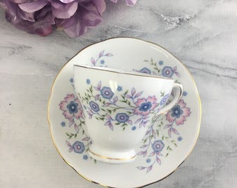 Sweet Blue Blossoms Teacup and Saucer Set Vintage Fine Bone China by Avon England Made