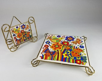 Retro Vintage Trivet and Napkin Holder Birds Flowers