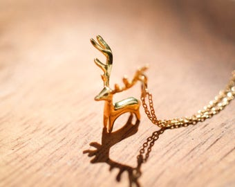 Gold Colored (Brass) Necklace with Reindeer Pendant