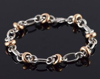 "14k HEAVY Fancy Rose Link Accent Bracelet Gold 8"""