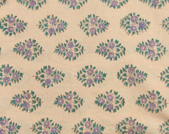 "Khaki Teal Floral Hand Block Print 100% Cotton Fabric, Khaki, 1 yard x 45"", Traditional Border Printed, Fashion Supply, Sewing, Craft Supply"