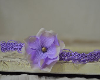 Purple Hydrangea Headband...Baby Girl Headband...Purple Flower Headband...Newborn Headband...Purple Lace...Newborn Headband...Photo Prop   e