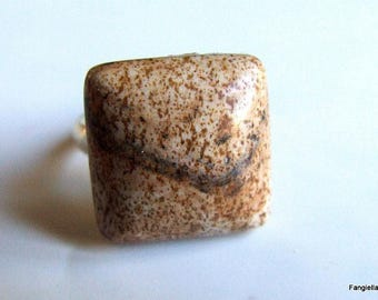 Landscape Jasper from Owyhee natural semi precious stone on Adjustable ring silver ring