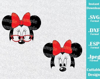 INSTANT DOWNLOAD SVG Disney Inspired Minnie Mouse Glasses Ears for Cutting Machines Svg, Esp, Dxf and Jpeg Format Cricut Silhouette