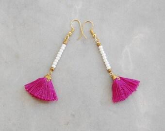 Mini Fuchsia Tassel Earrings with White Beads