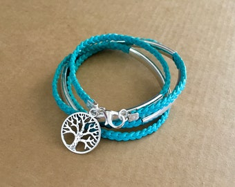 Leather braid wrap bracelet