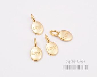"P338-MG// Matt Gold Plated ""Love"" Oval Pendant, 6pcs"