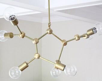 Molecule Brass Mid-Century Modern Chandelier