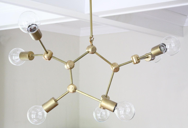 Molecule brass mid century modern chandelier zoom aloadofball Gallery