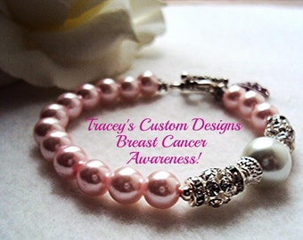Pale Pink BREAST CANCER AWARENESS Bracelet - Custom made just for you.