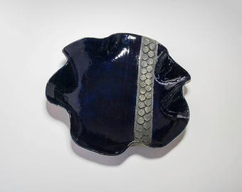Dark Blue Dish with Octagons
