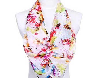 Womens Scarf, Red Scarf, Floral Print Scarf, Chiffon Scarf, Voile Scarf, Cotton Scarf, Fashion Scarf, Shawl, Womans Scarf