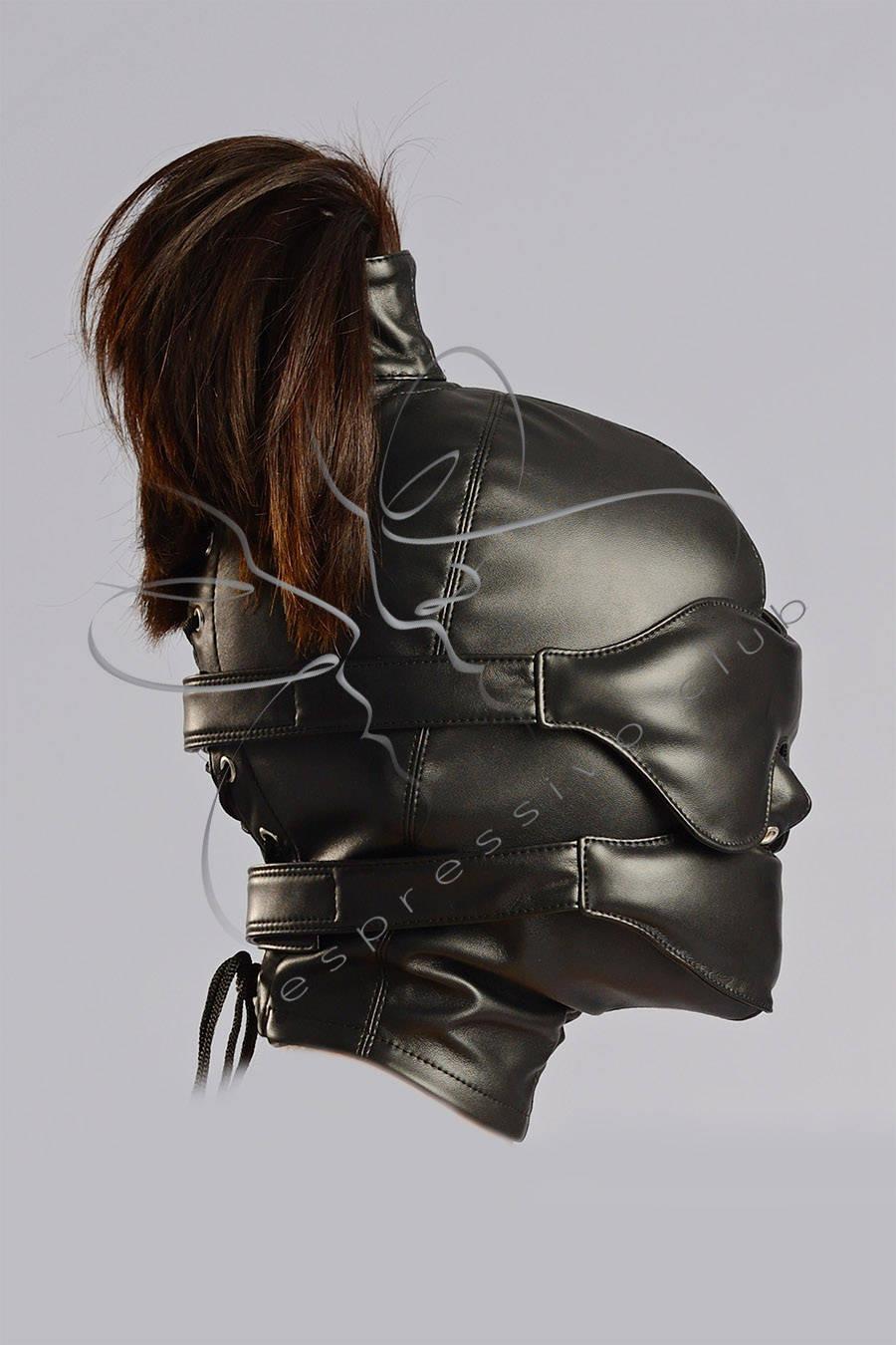Leather Ponytail Hood Leather Blindfold  Muffle Gag-6138