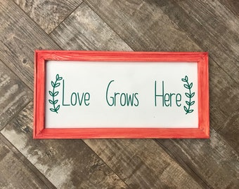 Love Grows Here Wood Canvas Sign