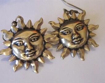 Flaming Sun Earrings Antiqued Gold Brass Blazing Sun Metal Dangle Earrings