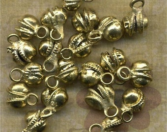 BRASS BELLS Little Round Charms lot of 18