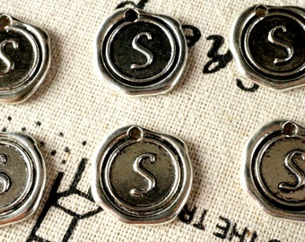 Alphabet letter S wax seal charm silver vintage style jewellery supplies