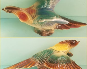 1950s Stewart B McCulloch Courting Pheasants m 50s Home Decor Vintage Housewares Bird Figurines Collectibles