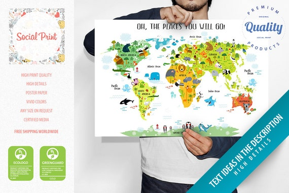 Personalized childrens animals world map poster free personalized childrens animals world map poster free shipping baby gift nursery world map childrens map poster kids world map poster gumiabroncs Images