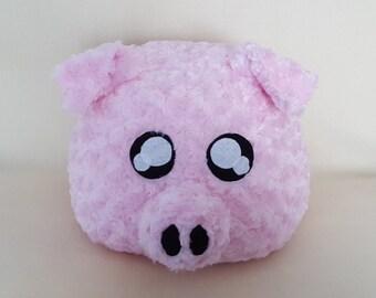 Cute Pink Fluffy Pig Pillow or Plush, Stuffed Pig